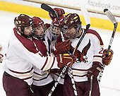 Chris Cobb (BC - 4), Taylor Licolli (BC - 7), Pat Morris (BC - 8), Brian Isaac (BC - 29) - The Boston College Eagles defeated the visiting Boston University Terriers 6-2 in ACHA play on Sunday, December 4, 2011, at Kelley Rink in Conte Forum in Chestnut Hill, Massachusetts.