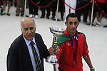 The President of the Palestinian Football Association, Jibril al-Rjoub, receives the Palestinian national football team which won the AFC Challenge Cup, at Palestinian President Mahmoud Abbas' office in the West Bank city of Ramallah on June 1, 2014. Palestine qualified for their maiden Asian Cup appearance with a 1-0 win over injury-hit Philippines in the final of the AFC Challenge Cup in Maldives. Photo by Issam Rimawi