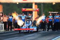 May 4, 2012; Commerce, GA, USA: NHRA top fuel dragster driver T.J. Zizzo during qualifying for the Southern Nationals at Atlanta Dragway. Mandatory Credit: Mark J. Rebilas-