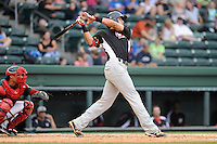 Third baseman Joey Gallo (30) of the Hickory Crawdads bats in a game against the Greenville Drive on Sunday, June 9, 2013, at Fluor Field at the West End in Greenville, South Carolina. Gallo is the No. 10 prospect of the Texas Rangers, according to Baseball America and was a first-round pick (39th overall) in the 2012 First-Year Player Draft. The catcher is the Drive's Jayson Hernandez. Hickory won, 6-3. (Tom Priddy/Four Seam Images)