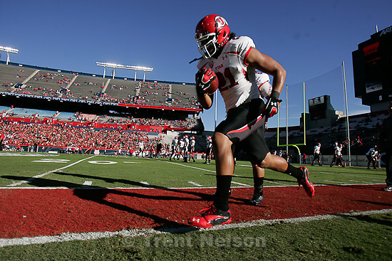 Trent Nelson  |  The Salt Lake Tribune.Utah running back Harvey Langi warms up as Utah faces Arizona, college football at Arizona Stadium in Tucson, Arizona, Saturday, November 5, 2011.