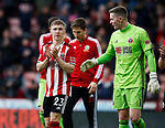 Ben Osborn of Sheffield Utd and Dean Henderson of Sheffield Utd during the Premier League match at Bramall Lane, Sheffield. Picture date: 7th March 2020. Picture credit should read: Simon Bellis/Sportimage