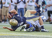 Annapolis, MD - October 7, 2017: Navy Midshipmen quarterback Zach Abey (9) is stopped short of a touchdown during the game between Air Force and Navy at  Navy-Marine Corps Memorial Stadium in Annapolis, MD.   (Photo by Elliott Brown/Media Images International)