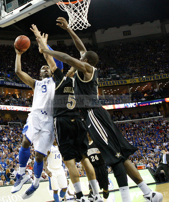 UK forward Terrence Jones shoots the ball during the first half in the 2012 SEC Tournament championship game between Kentucky and Vanderbilt, played at New Orleans Arena, on 3/11/12.  Photo by Quianna Lige | Staff