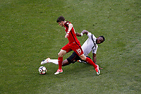 Commerce City, CO - Thursday June 08, 2017: Christian Pulisic and Khaleem Hyland during their 2018 FIFA World Cup Qualifying Final Round match versus Trinidad & Tobago at Dick's Sporting Goods Park.