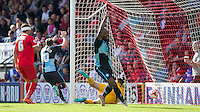 Gozie Ugwu of Wycombe Wanderers  turns to celebrate as Wycombe take a 1-0 lead during the Sky Bet League 2 match between Leyton Orient and Wycombe Wanderers at the Matchroom Stadium, London, England on 19 September 2015. Photo by Andy Rowland.