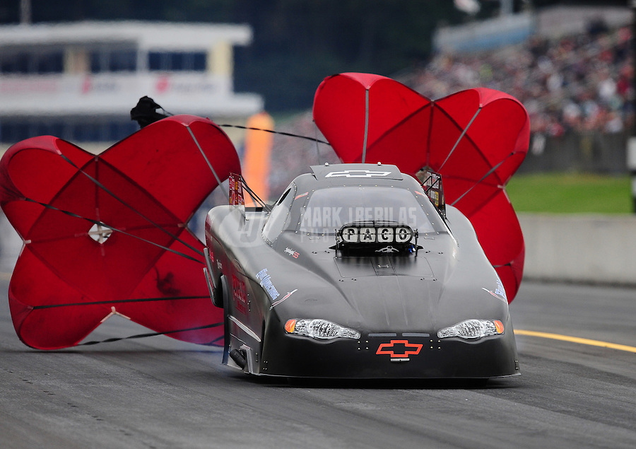 Oct. 1, 2011; Mohnton, PA, USA: NHRA top alcohol funny car driver Dan Pomponio during qualifying for the Auto Plus Nationals at Maple Grove Raceway. Mandatory Credit: Mark J. Rebilas-