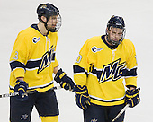 Kyle Bigos (Merrimack - 3), Bobby Kramer (Merrimack - 10) - The University of Notre Dame Fighting Irish defeated the Merrimack College Warriors 4-3 in overtime in their NCAA Northeast Regional Semi-Final on Saturday, March 26, 2011, at Verizon Wireless Arena in Manchester, New Hampshire.
