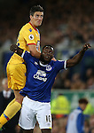 Martin Kelly of Crystal Palace tussles with Romelu Lukaku of Everton  during the Premier League match at Goodison Park Stadium, Liverpool. Picture date: September 30th, 2016. Pic Simon Bellis/Sportimage