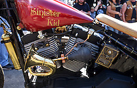 NWA Democrat-Gazette/BEN GOFF @NWABENGOFF<br /> Sinister Kid, a custom bike built by Scotty 'Memphis' Robertson of Steele, Mo. sits on display on Saturday Sept. 26, 2015 during the Stokes Air Battle of the Bikes at the annual Bikes, Blues & BBQ motorcycle rally in downtown Fayetteville. The steampunk style bike incorporating a variety of unexpected objects from a mailbox to a Jello mold, was crowned best of show, the third year in a row Robertson has been won the event.