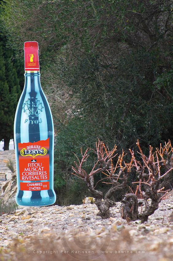 Domaine Lerys, Fitou, Muscat Corbieres, Rivesaltes. Fitou. Languedoc. France. Europe. Bottle. Vineyard.