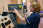 Stem cell machine being demonstrated by Haematology Nursing Team Leader. MR