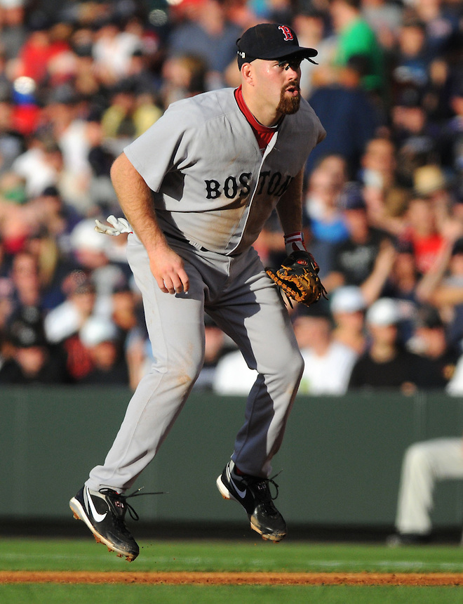 22 JUNE 2010: Boston Red Sox first baseman Kevin Youkilis during an interleague regular season Major League Baseball game between the Colorado Rockies and the Boston Red Sox at Coors Field in Denver, Colorado. The Rockies beat the Red Sox 2-1.  *****For Editorial Use Only*****