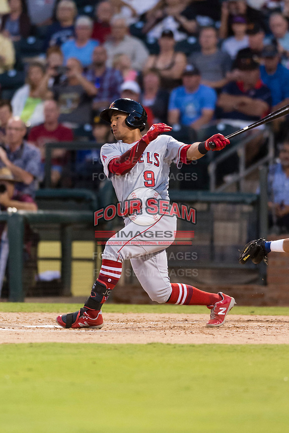 AFL East second baseman Jahmai Jones (9), of the Mesa Solar Sox and Los Angeles Angels organization, follows through on his swing during the Fall Stars game at Surprise Stadium on November 3, 2018 in Surprise, Arizona. The AFL West defeated the AFL East 7-6 . (Zachary Lucy/Four Seam Images)