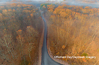 63895-16915 Road at sunrise and fog Stephen A. Forbes State Park-aerial-Marion Co. IL