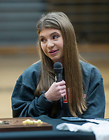 NWA Democrat-Gazette/BEN GOFF @NWABENGOFF<br /> Brianna Willis, Bentonville soccer player, makes thank you remarks Wednesday, Feb. 6, 2019, during a signing ceremony at Bentonville's Tiger Arena.