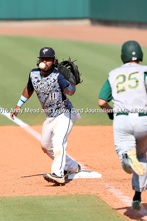 02 June 2016: Cal Poly Pomona's Alex Kline (25) is thrown out at first base with Nova Southeastern's Andres Visbal (10) making the catch. The Nova Southeastern University Sharks played the Cal Poly Pomona Broncos in Game 11 of the 2016 NCAA Division II College World Series  at Coleman Field at the USA Baseball National Training Complex in Cary, North Carolina. Nova Southeastern won the semifinal game 4-1 and advanced to the championship series.