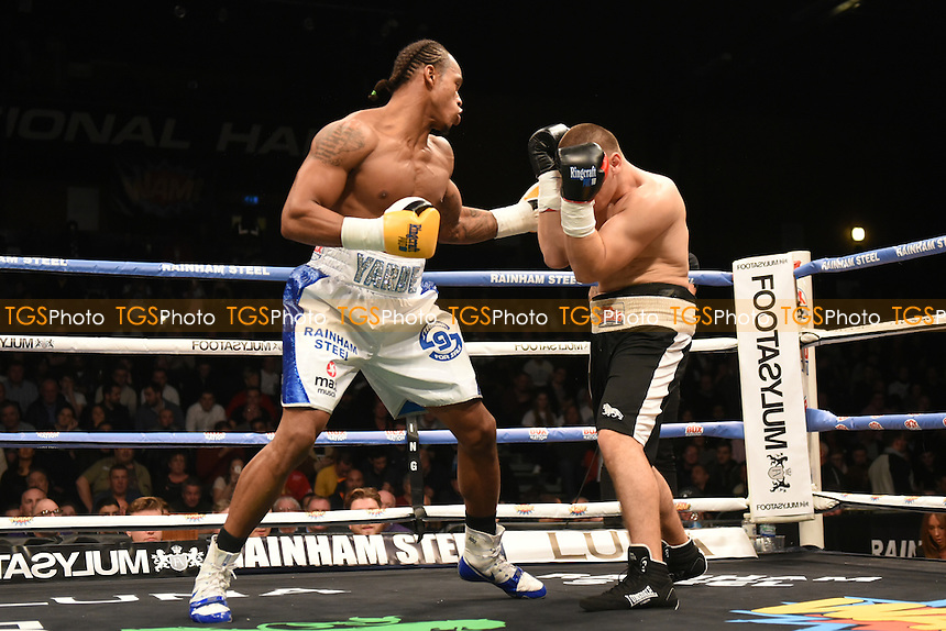 Anthony Yarde (blue/white shorts) defeats Ferenc Albert during a Boxing Show at the Brentwood Centre on 25th November 2016