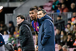 Head Coach Luis Ernesto Valverde of FC Barcelona (R) talks to Paulinho Maciel of FC Barcelona (L) during the Copa Del Rey 2017-18 match between FC Barcelona and Valencia CF at Camp Nou Stadium on 01 February 2018 in Barcelona, Spain. Photo by Vicens Gimenez / Power Sport Images