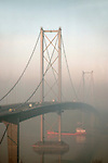Forth Road Bridge crossing the Firth of Forth between Queensferry and Inverkeithing, near Edinburgh, Lothian, Scotland, United Kingdom, Europe