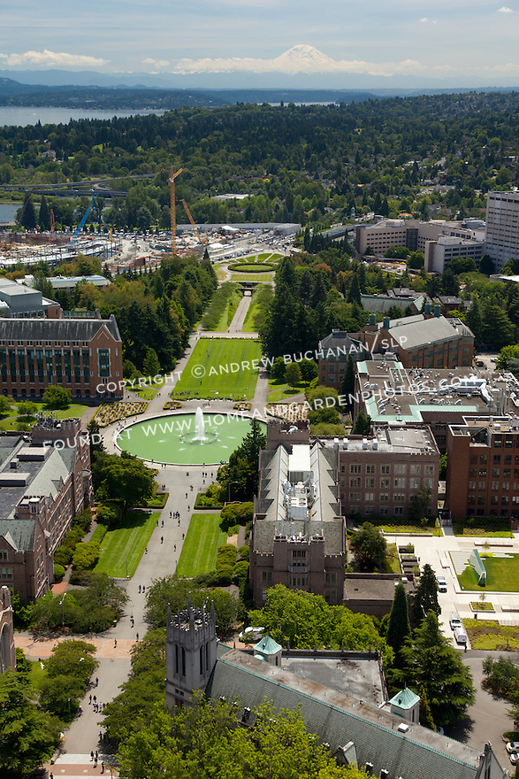 University of Washington aerial photo looking down Rainier Vista from Drumheller Fountain towards a distant Mt. Rainier; Seattle, WA