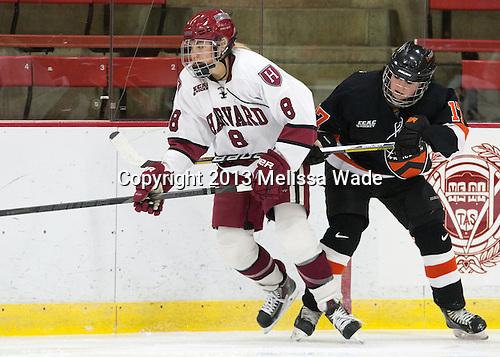 Hillary Crowe (Harvard - 8), Brianne Mahoney (Princeton - 17) - The Harvard University Crimson defeated the visiting Princeton University Tigers 4-0 on Saturday, October 26, 2013, at Bright-Landry Hockey Center in Cambridge, Massachusetts.