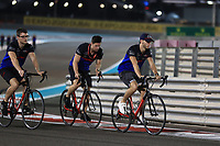 28th November 2019; Yas Marina Circuit, Abu Dhabi, United Arab Emirates; Formula 1 Abu Dhabi Grand Prix, arrivals day; Scuderia Toro Rosso, Pierre Gasly cycles the circuit with his team  - Editorial Use
