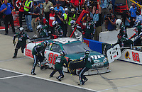 Apr 27, 2008; Talladega, AL, USA; NASCAR Sprint Cup Series driver Dale Earnhardt Jr pits during the Aarons 499 at Talladega Superspeedway. Mandatory Credit: Mark J. Rebilas-