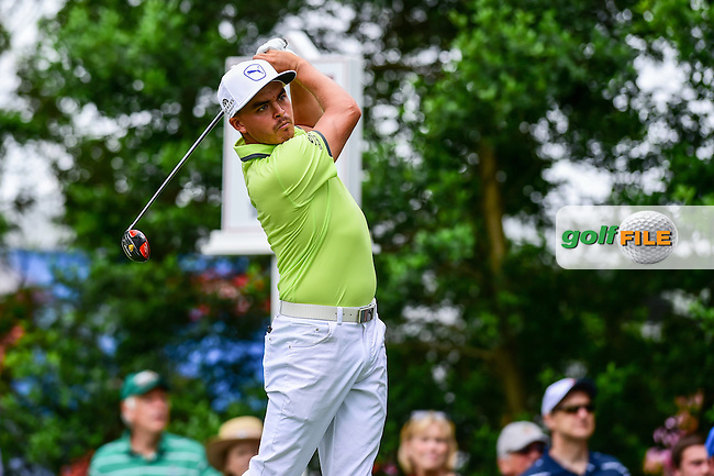 Rickie Fowler (USA) watches his tee shot on 17 during round 2 of the 2016 Quicken Loans National, Congressional Country Club, Bethesda, Maryland, USA. 6/24/2016.<br /> Picture: Golffile | Ken Murray<br /> <br /> <br /> All photo usage must carry mandatory copyright credit (&copy; Golffile | Ken Murray)