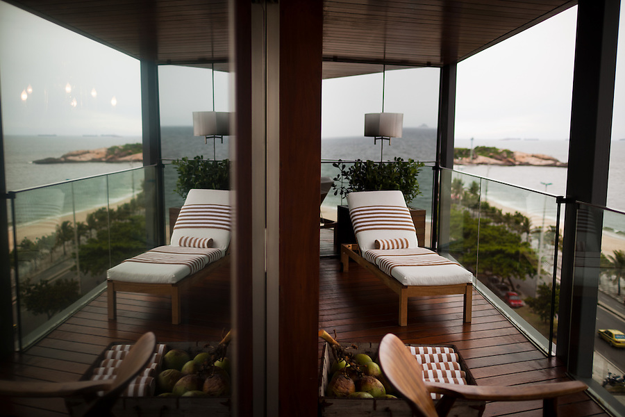 The Philipe Starck-designed Fasano hotel, where rooms go for $750 and more per night, overlooks the democratic panorama of Arproador Beach, in Rio de Janeiro, Brazil, on Monday, Feb. 4, 2013.