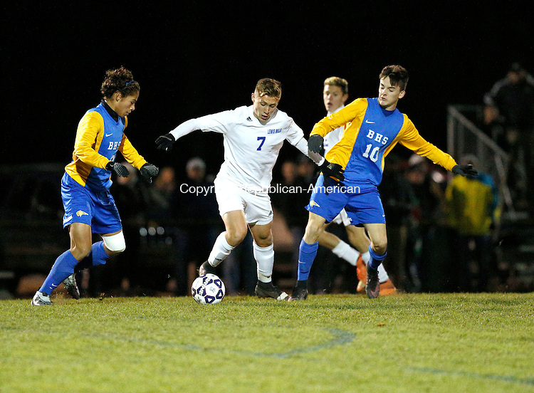 Burlington, CT- 12 November 2016-111216CM10-  Lewis Mills' Nick Lutrzykowski (7), tries to control the ball against Brookfield's Cairo De Souza  (8) and Matthew Bento (10)  during their state tournament matchup on Saturday.  Mills would go onto lose, 4-3.    Christopher Massa Republican-American