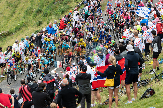 The peloton climb Horquette d'Ancizan during Stage 12 of the 2019 Tour de France running 209.5km from Toulouse to Bagneres-de-Bigorre, France. 18th July 2019.<br /> Picture: ASO/Alex Broadway | Cyclefile<br /> All photos usage must carry mandatory copyright credit (© Cyclefile | ASO/Alex Broadway)