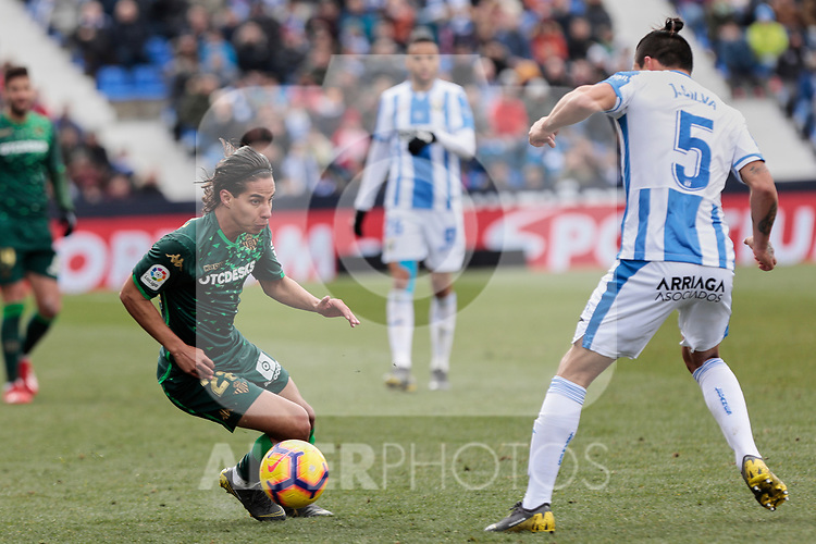 CD Leganes's Jonathan Cristian Silva and Real Betis Balompie's Diego Lainez during La Liga match between CD Leganes and Real Betis Balompie at Butarque Stadium in Madrid, Spain. February 10, 2019. (ALTERPHOTOS/A. Perez Meca)