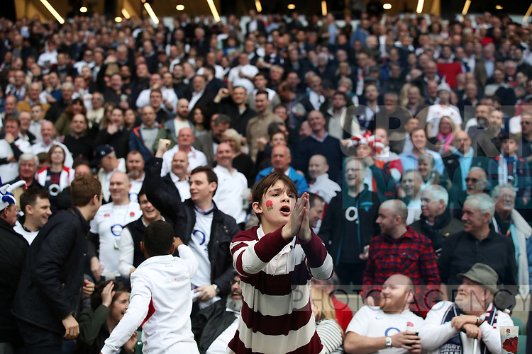 Young England fan during the Six Nations match at Twickenham Stadium, London. Picture date: March 11th, 2017. Photo credit should read: Lynne Cameron/Sportimage