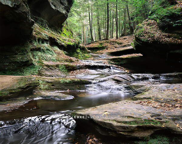Water Flowing Through Old Man's Cave, Hocking Hills Region, Ohio