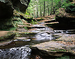 Water Flowing Through Old Man's Cave, Hocking Hills Region, Ohio