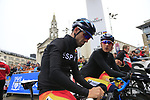 Alejandro Valverde and Marc Soler of Spain before the Men Elite Road Race of the UCI World Championships 2019 running 280km from Leeds to Harrogate, England. 29th September 2019.<br /> Picture: Eoin Clarke | Cyclefile<br /> <br /> All photos usage must carry mandatory copyright credit (© Cyclefile | Eoin Clarke)