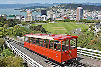 Wellington cable car and view of city, New Zealand