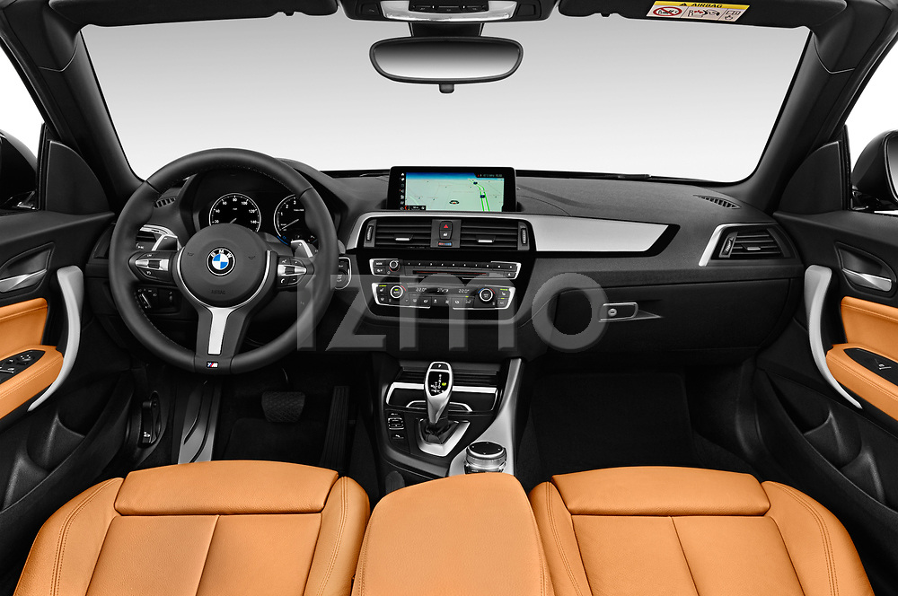 Stock photo of straight dashboard view of a 2018 BMW 2 Series M-Sport 2 Door Convertible