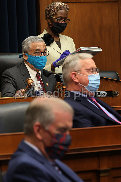 United States House Education and Labor Committee Chairman US Representative Bobby Scott (Democrat of Virginia), left, and fellow committee members and staff wear face masks to prevent the chance of transmission of coronavirus during a hearing about the federal government's role in protecting workers during the pandemic on Capitol Hill May 28, 2020 in Washington, DC. More than 62,000 health care workers have been infected with COVID-19 and close to 300 have died according to the U.S. Centers for Disease Control. <br /> Credit: Chip Somodevilla / Pool via CNP/AdMedia