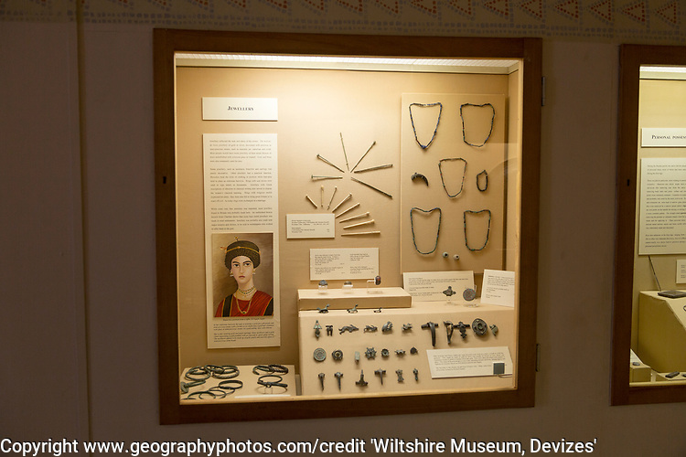Display of Roman jewellery. With permission of Wiltshire Museum, Devizes, England, UK.