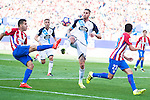 Atletico de Madrid's players Ángel Martín Correa and Nico Gaitán and Deportivo de la Coruña's player Raul Albentosa during a match of La Liga Santander at Vicente Calderon Stadium in Madrid. September 25, Spain. 2016. (ALTERPHOTOS/BorjaB.Hojas)