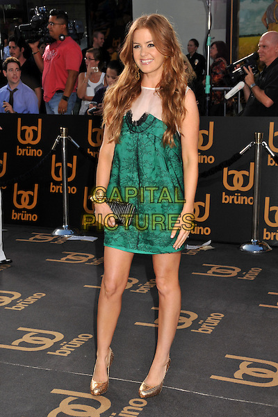 "ISLA FISHER .""Bruno"" Los Angeles Premiere held at Grauman's Chinese Theatre, Hollywood, CA, USA..June 25th, 2009 .full length black green lace white sheer dress black clutch bag gold shoes.CAP/ADM/BP.©Byron Purvis/AdMedia/Capital Pictures."