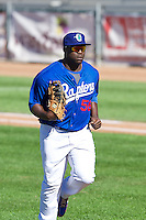 Justin Chigbogu (56) of the Ogden Raptors during the game against the Grand Junction Rockies on June 19, 2014 at Lindquist Field in Ogden, Utah. (Stephen Smith/Four Seam Images)