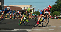 NWA Democrat-Gazette/BEN GOFF @NWABENGOFF<br /> Cyclists compete in the men's pro category 1/2 race Saturday, July 7, 2018, during The Natural State Criterium Series in downtown Rogers. The third annual series produced by BikeNWA began with races in downtown Bentonville Friday evening. The series concludes Sunday in downtown Springdale with the first event starting at 8:50 a.m. and the final event starting at 4:00 p.m. A criterium is a type of bicycle race where riders lap a short, closed circuit on downtown city streets.