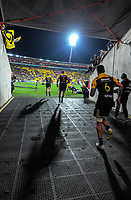 TJ Perenara leads the Hurricanes out for the Super Rugby match between the Hurricanes and Crusaders at Westpac Stadium in Wellington, New Zealand on Saturday, 15 July 2017. Photo: Dave Lintott / lintottphoto.co.nz