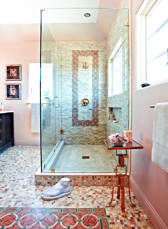 This custom bathroom features Cary, a handmade mosaic shown in Honey Onyx, Rosa Verona and Verde Luna from the the Ann Sacks Beau Monde collection by Sara Baldwin and is sold exclusively at www.annsacks.com.<br /> Bath designed by Alissa Madden of Madden Design, San Francisco.<br /> Photos courtesy of Tony George Photography