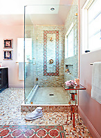 This custom bathroom features Cary, a handmade mosaic shown in Honey Onyx, Rosa Verona and Verde Luna from the the Ann Sacks Beau Monde collection by Sara Baldwin and is sold exclusively at www.annsacks.com.<br />