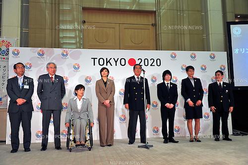 (L to R) Masaru Hosoi, Kazuo Ogura, Wakako Tsuchida, Reiko Shiota,  Shintaro Ishihara Governor of Tokyo, Kohei Uchimura, Yuko Arakida, Masato Mizuno, .FEBRUARY 16, 2012 - : Press conference for the 2020 Olympic and Paralympic Games candidate Tokyo applies application file, Tokyo, Japan. (Photo by Jun Tsukida/AFLO SPORT) [0003].