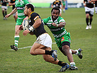 Manawatu's Tomasi Cama tackles Buxton Popoali'i during the Air NZ Cup preseason match between Manawatu Turbos and Wellington Lions at FMG Stadium, Palmerston North, New Zealand on Friday, 17 July 2009. Photo: Dave Lintott / lintottphoto.co.nz